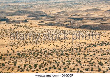 Aerial view of Damaraland, Kaokoland Wilderness in NW region, Namibia, Africa - Stock Photo