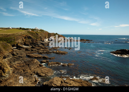 Lizard Point lighthouse and lifeboat house, the most southerly point on mainland Britain, Cornwall, England, United - Stock Photo