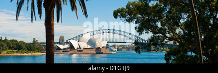 Sydney Opera House, and Sydney Harbour Bridge panoramic from Sydney Royal Botanic Gardens, Sydney, New South Wales, - Stock Photo