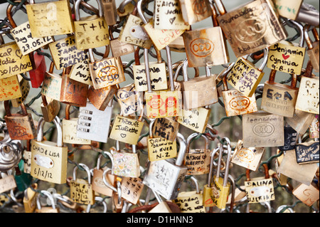 Pont des Arts love locks - Paris bridge - Stock Photo
