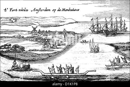 the oldest city view of New Amsterdam or New York City, USA, 17th century, - Stock Photo