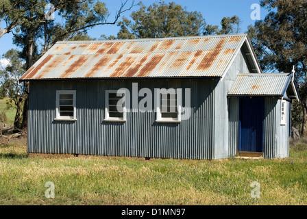 A tiny church constructed of corrugated Iron, near Wellington, New South Wales, Australia - Stock Photo