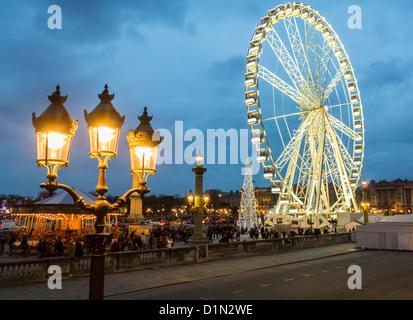 Paris, France, Street Scenes, Christmas Decorations, Ferris Wheel, on Place de la Concorde, at Night - Stock Photo