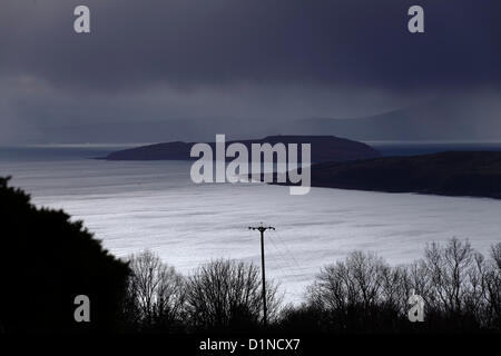 Firth Of Clyde, Scotland, UK, Monday, 31st December, 2012. Dark sky over the Firth of Clyde at dusk on the final - Stock Photo