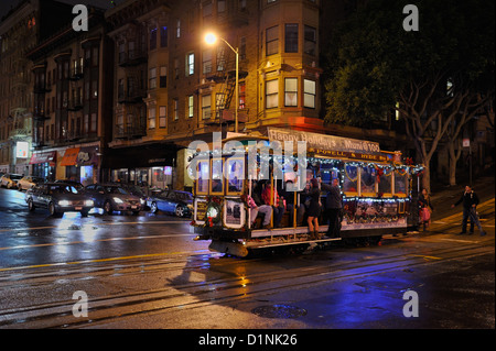 A decorated cable car during the festive season, San Francisco CA - Stock Photo