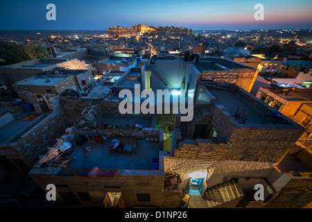 Blue houses in the city of Jodhpur in Rajasthan state in India - Stock Photo
