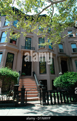 Brownstone in trendy Park Slope, Brooklyn on July 26, 2005. (© Frances M. Roberts) - Stock Photo