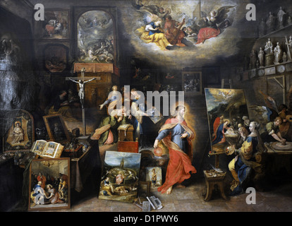 Frans Francken the Younger (1581-1642). Flemish painter. Christ in the Studio. Museum of Fine Arts. Budapest. Hungary. - Stock Photo