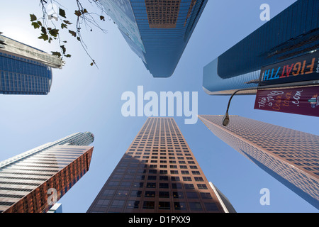 Worm's-eye view of Downtown Los Angeles skyscrapers, California, United States of America, USA - Stock Photo