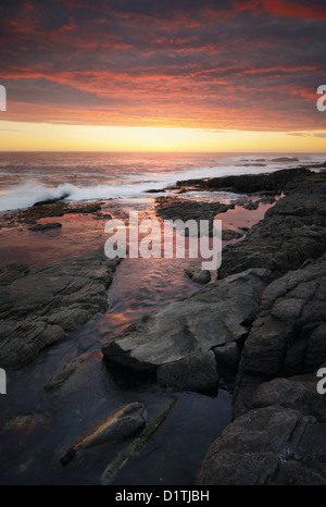 Sunset over rocky coastline (Hermanus - Cape Province - South Africa) - Stock Photo