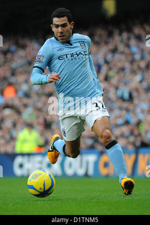 05.01.2013 Manchester, England. Carlos Tevez in action during the FA Cup 3rd Round game between Manchester City - Stock Photo