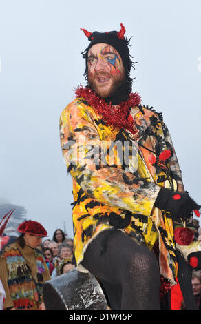 Bankside, London, UK. 6th January 2013. Beelezebub and The Mummers performing the Mummers Play. Twelfth Night Celebrations - Stock Photo