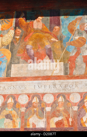 Italy, Trentino Alto Adige, Trento, Buonconsiglio Castle, Fresco - Stock Photo