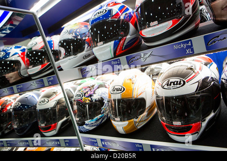 Arai motorcycle helmets on display at the Washington Motorcycle Show. - Stock Photo