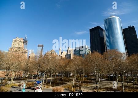 Battery Park,New York, Lower Manhattan, USA - Stock Photo