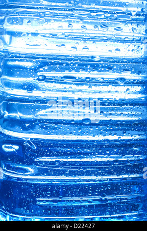 Blue water drops on bottle abstract background texture - Stock Photo