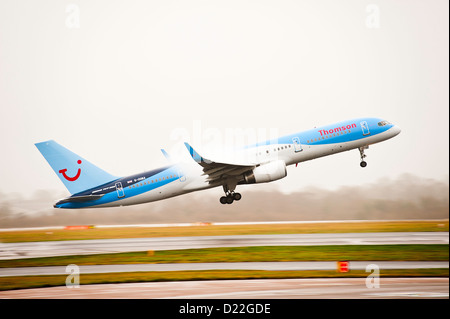 Thomson Airways Boeing 757-28A Airliner G-OOBA Taxiing on Arrival at Manchester Airport England United Kingdom UK - Stock Photo