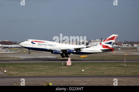 British Airways Boeing 747 Landing at London Heathrow Airport - Stock Photo
