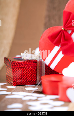 A beutiful red box on an artistic background macro studio shot - Stock Photo