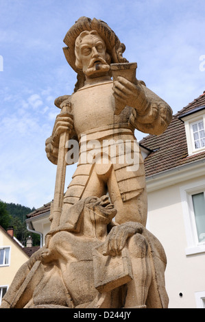 Part of the Hornberger fountain in Hornberg, Black Forest, Germany. - Stock Photo
