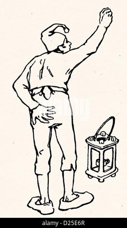 Man with Lantern - Stock Photo
