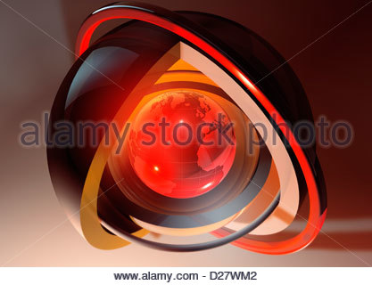 Abstract glowing red globe at core of concentric spheres - Stock Photo