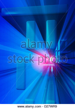 Abstract pink vanishing point in blue geometric grid pattern - Stock Photo