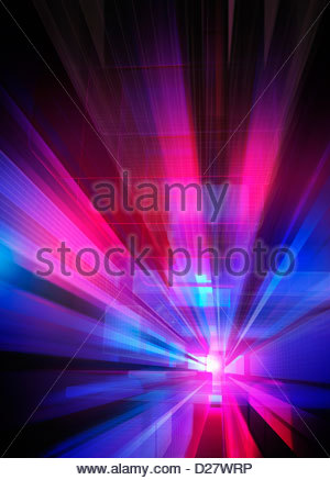 Abstract blue and pink geometric grid pattern with vanishing point - Stock Photo