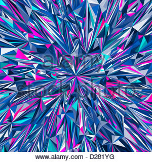 Vibrant angular blue and pink abstract pattern - Stock Photo