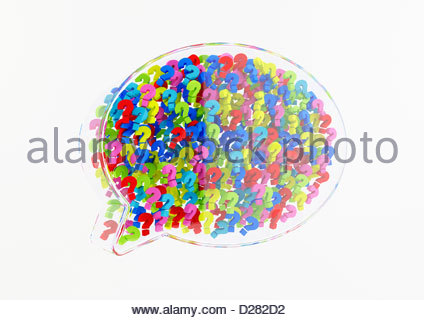 Cluster of multicolored question marks in transparent 3d speech bubble on white background - Stock Photo