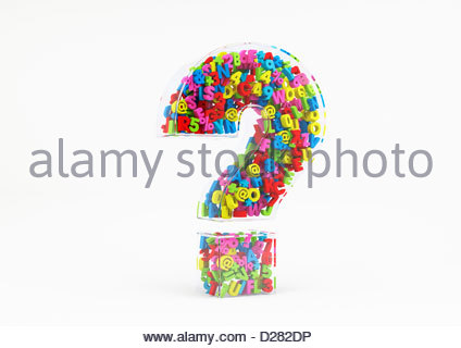Multicolored letters numbers and symbols in transparent 3d question mark on white background - Stock Photo