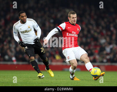 London, UK. 16th January 2013. Jack Wilshere of Arsenal in action during The FA Cup 3rd Round replay with Budweiser - Stock Photo