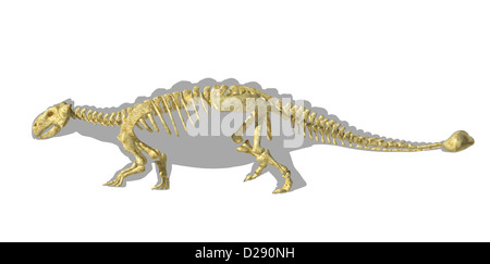 Ankylosaurus dinosaurus silhouette, with full skeleton superimposed. Side view. Clipping path included. - Stock Photo