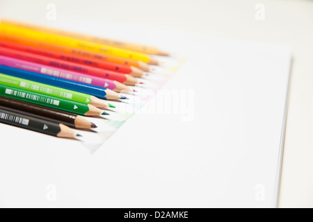 Close up of colored pencils on counter - Stock Photo