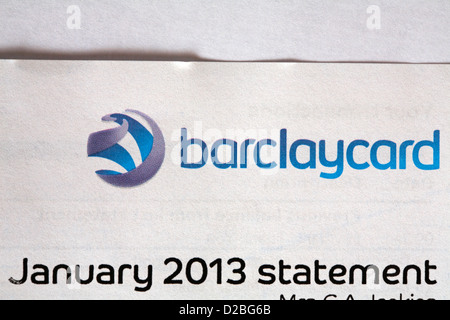 After Christmas spending the Barclaycard January 2013 statement arrives - Stockfoto