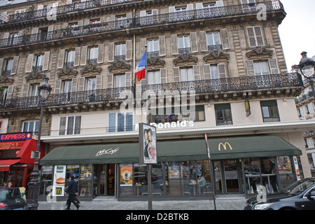 McDonalds opposite Gare Du Nord in Paris France - Stock Photo