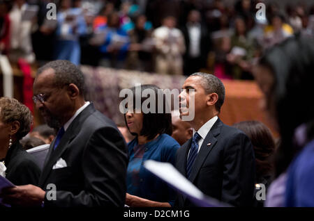US President Barack Obama and First Lady Michelle Obama attend a church service at Metropolitan African Methodist - Stock Photo