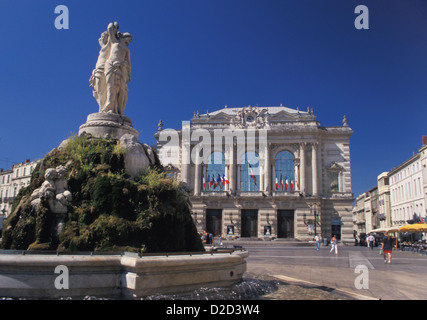 France. Montpellier. Place De La Comedie. Three Graces Fountain With The Opera Comedie In The Background. - Stock Photo