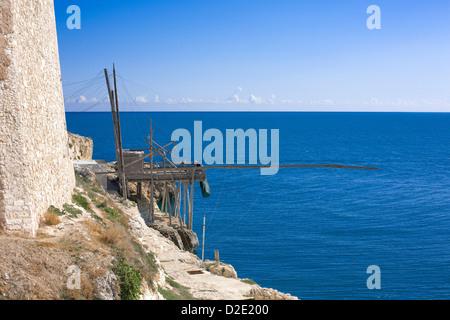 Trabucco on Costa dei Trabocchi, Vieste, Gargano, Apulia, Puglia, Italy - Stock Photo