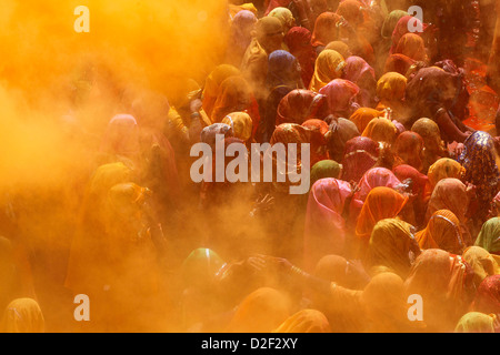 Holi celebration in Dauji temple Dauji. India. - Stock Photo