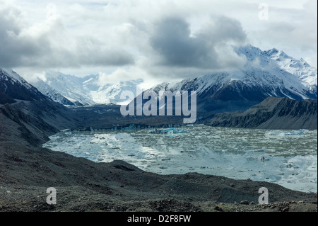 Aoraki Mount Cook pictured from the Tasman Glacier. Aoraki, Mount Cook National Park New Zealand. - Stock Photo