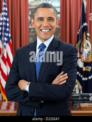President Barack Obama, 44th President of the United States. Official photo in the Oval Office, Dec. 6, 2012. - Stock Photo