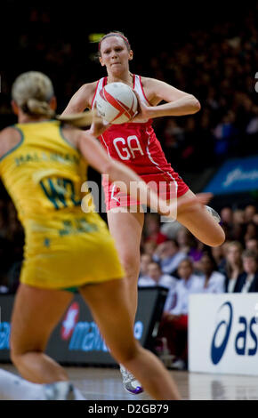 London, UK. 23rd January 2013.  Joanne Harten (GA) in action during the International Netball Series 2nd Test Match - Stock Photo