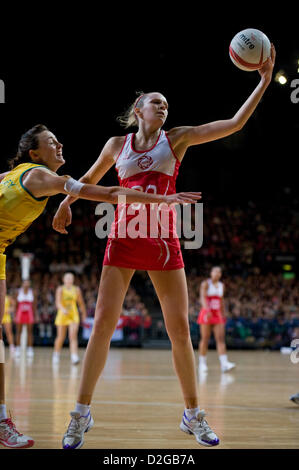 London, UK. 23rd January 2013.  Joanne Harten (GA) in action during the International Netball Series 2nd Test Match - Stockfoto
