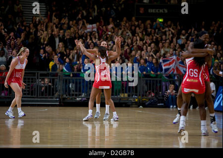 London, UK. 23rd January 2013.  England celebrate winning the International Netball Series 2nd Test Match and series - Stock Photo