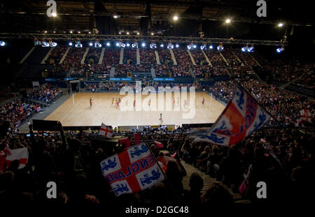 23.01.2013 London, England.  The English crowd celebrate during the International Netball Series 2nd Test Match - Stock Photo