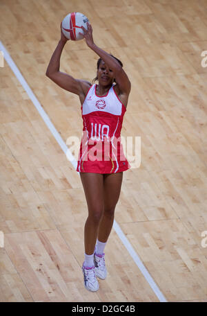 23.01.2013 London, England.  Pamela Cookey (Captain) in action during the International Netball Series 2nd Test - Stock Photo