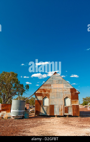 Corrugated iron church at Lightning Ridge, NSW, Australia - Stockfoto