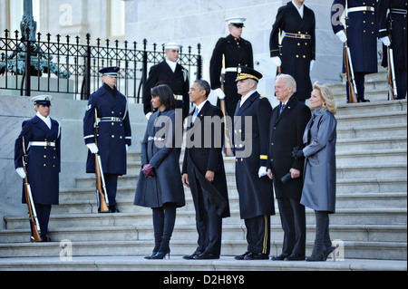 US President Barack Obama, First Lady Michelle Obama, Vice President Joe Biden, Dr. Jill Biden and Maj. Gen. Michael - Stock Photo