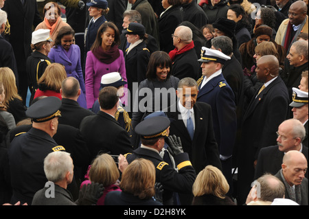 US President Barack Obama and the First Family make their way off the platform during the 57th Presidential Inauguration - Stock Photo